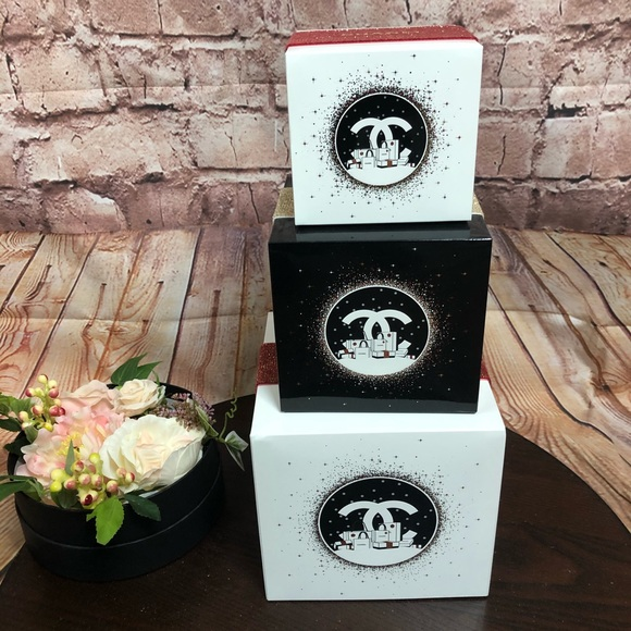 CHANEL stackable decorative boxes nesting